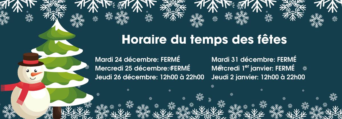 Heures d'ouverture Noël 2019